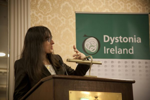 Professor Elena Moro, Grenoble, speaking about Deep brain stimulation in dystonia at the Dystonia Conference: Meet the Experts - An Information Meeting at the Shelbourne Hotel, Dublin, Saturday, 11 June 2016